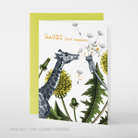 greeting card PABUKU F091 MagicGiraffe