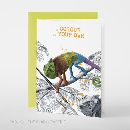 greeting card PABUKU F092 RainbowChameleon