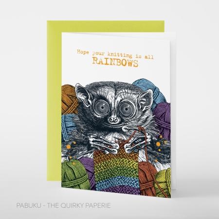 greeting card PABUKU F095 KnittingRainbows