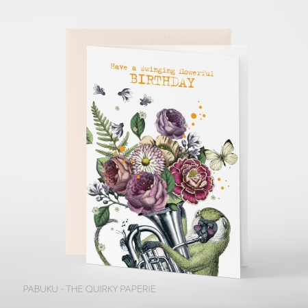 greeting card PABUKU F098 Swinging Birthday