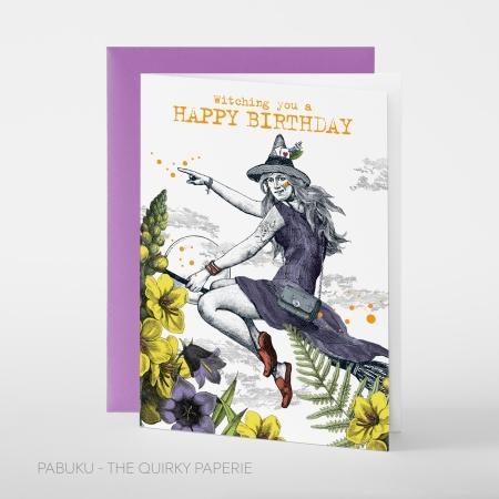 greeting card PABUKU F099 Birthday Witch