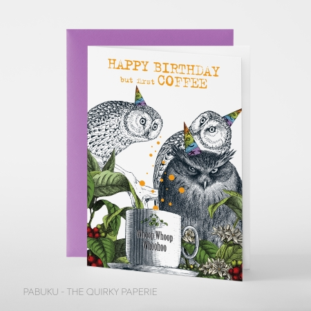 greeting card PABUKU F100 BD CoffeeOwl