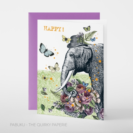 greeting card PABUKU F103 Happy Elephant Birthday