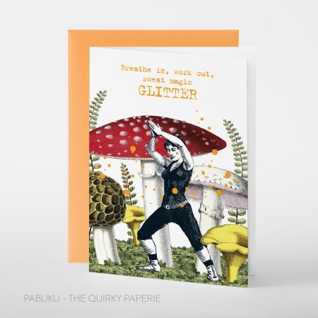 greeting card PABUKU F106 Workout Glitter