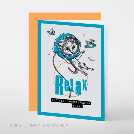 greeting card PABUKU S006 Relax catSpotlight
