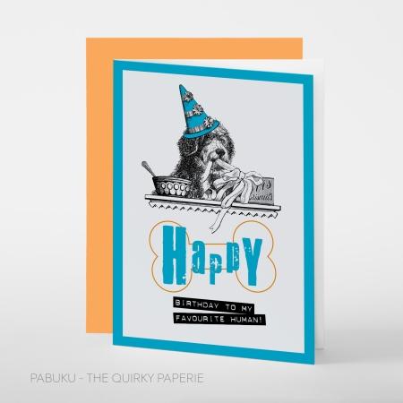 greeting card PABUKU S021 Birthday Dog Spotlight