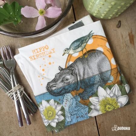 PABUKU x PPD paper napkin HIPPO BIRTHDAY